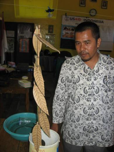 Abdul Azis Mappata,Guru MI Yaspi Sambungjawa Makassar dengan hasil karyanya