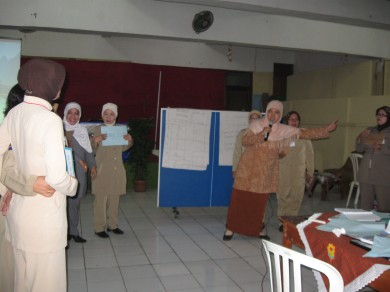Ibu Nurhamidah (berkerudung merah mudah) sedang memfasilitasi simulasi bermain peran dalam Pelatihan Paket Adaptasi Matematika, bulan Februari 2009 yang lalu.