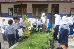 Eny Wahyu Astuti,S.PdI, Guru MIM Karanganyar, sekolah binaan DBE 2 memanfaatkan lingkungan sebagai sumber belajar