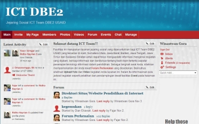 Tampilan layanan jejaring sosial ICTDBE2